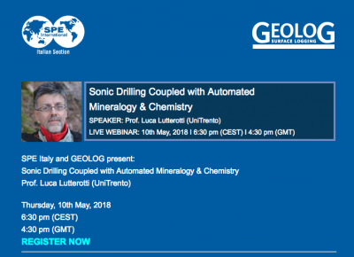 "Webinar: "" Sonic Drilling Coupled with automated mineralogy and chemistry """