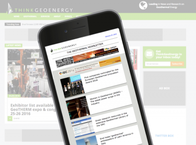 The new design for ThinkGeoEnergy & PiensaGeotermia's weekly newsletter